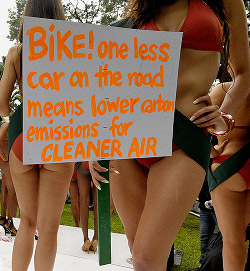 Bikini propaganda: Lower your carbon emissions!