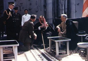President Roosevelt with Abdel Aziz Ibn Saud and William Leahy aboard the USS Quincy, 1945