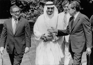 Prince Fahd Ibn Aziz Saud with Richard Nixon and Henry Kissinger at the White House