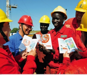 Chinese engineers coordinate work in Angola.